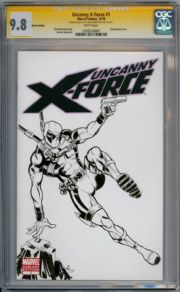 Uncanny X-Force #1 CGC 9.8 Signature Series Signed Kirkpatrick Deadpool Sketch  book
